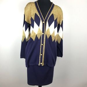 Vintage Navy Blue & Gold Cardigan Skirt Suit